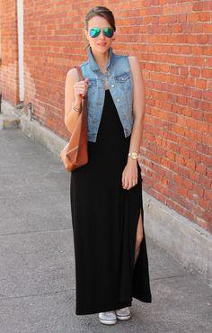 Denim vest + maxi dress #oldnavystyle