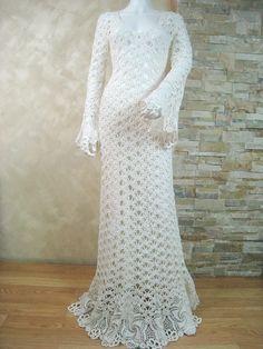 Exclusivo ganchillo marfil vestido de novia por LecrochetArt