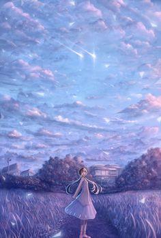 Anime scenery by Sakimori Anime Scenery Wallpaper, Wallpaper Backgrounds, Animes Wallpapers, Cute Wallpapers, Fantasy Landscape, Fantasy Art, Manga Art, Anime Art, Anime Galaxy