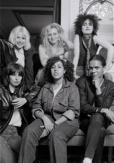A group portrait of female punk and new wave musicians in London, August 1980, L-R (back) Debbie Harry of Blondie, Viv Albertine of The Slits, Siouxsie Sioux of Siouxsie And The Banshees, (Front) Chrissie Hynde of The Pretenders, Poly Styrene of X-Ray Spex, and Pauline Black of The Selecter. (Photo by Michael Putland/Getty Images.