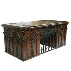 Lord Henry's desk | medieval desk and chair | Iron Quatrefoils Gothic Desk : Mallery Hall, Unique Old World Design ...