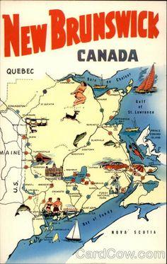 Chrome Postcard The Province of New Brunswick, Canada Maps New Brunswick Map, New Brunswick Canada, Saint John New Brunswick, East Coast Travel, East Coast Road Trip, Canada North, Canada Eh, Canada Trip, Canada Cruise