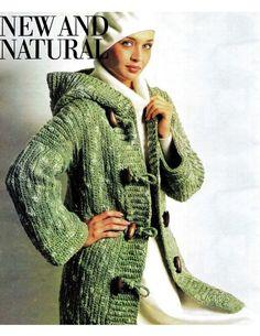 "Vintage 70's Crochet  Hooded Duffle Coat  - PDF Pattern - ""ENGLISH"" Duffle Coat Pattern"