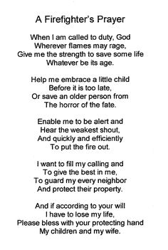 Firefighter's prayer. I would like to cross-stitch this perhaps.