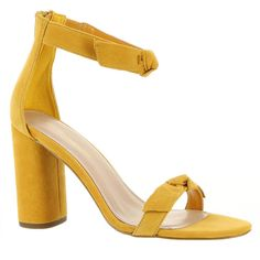 BCBGeneration Faedra Women's Yellow Sandal (320 PEN) ❤ liked on Polyvore featuring shoes, sandals, yellow, suede block heel sandals, summer sandals, ankle strap high heel sandals, zipper sandals and yellow high heel sandals