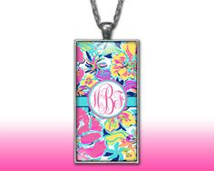 Tropical Monogram Pendant Charm Necklace Personalized Pink Aqua Custom Silver Plated Jewelry