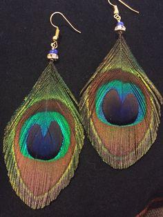 #wildermans handmade #peacock #featherearrings #etsy https://www.etsy.com/listing/491681337/peacock-feather-earrings