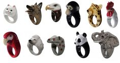 Bagues animaux Nach  Rings with anial heads.