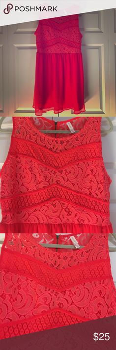 Gorgeous, hot coral dress. I love this dress! It's just too tight :( it's so beautiful! I've never worn it- great condition. Comfortable, and truly beautiful! Perfect for a dressy occasion or can be worn casually! Dresses