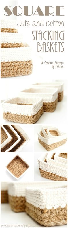 Square jute and cotton stacking baskets - an original crochet pattern by jakigu.com