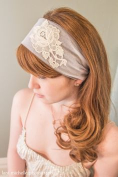 Fashion- A beautiful and unique accessory for your special day. Boho Headband with Vintage Lace by VintageWeddingGems on Etsy, $50.00 ***Handmade in KC Member