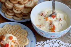 cloudberry ice cream and waffles