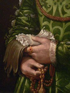 Art, detail .. X ღɱɧღ ||   Portrait of a Florentine Noblewoman Italian 1540 Detail 2