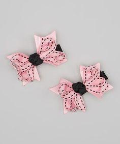 Pink & Black Saddle Stitch Mini Bow Set by Bubbly Bows Mini Bow, Baby Bows, Little Princess, Pink Black, Hair Pieces, Soft Fabrics, Headbands, Bubbles, Invitations