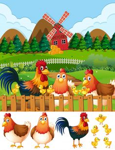Chicken family at farmland Free Vector Animal Art Projects, Animal Crafts, Preschool Charts, Diy For Kids, Crafts For Kids, Old Paper Background, Farm Images, Cartoon Chicken, Farm Quilt