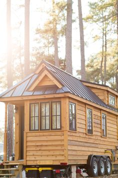 """A 230 sq ft tiny house, named """"Cypress"""" from the Tumbleweed Tiny House Company."""