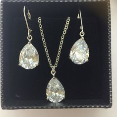 63ae02c2d STERLING SILVER CZ TEARDROP BRIDAL JEWELRY SET