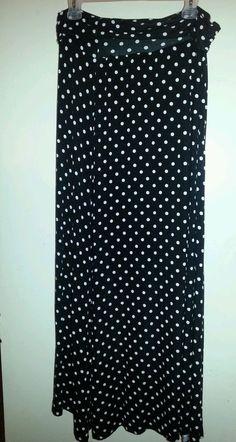 FRENCH LAUNDRY Black & White Polka Dot Jersey Long Maxi Skirt Womens Sz L 10-12 #FrenchLaundry #Maxi