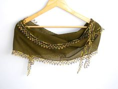 Turkish green yemeni cotton scarf with lacespring summer by seno, $12.75