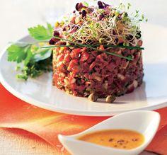 Tartar de solomillo de buey con hierbas aromáticas #recipes cuisine