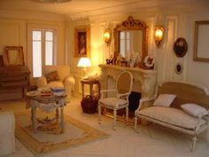 Living Area, Living Room, Front Rooms, Barbie Furniture, Miniature Houses, Drawing Room, Decoration, Cottage Style, Dollhouse Miniatures