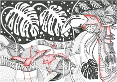 Flamingo, graphics, black, white Black And White Drawing, My Black, Pink Flamingos, Rooster, Graphics, Drawings, Animals, Animales, Flamingos