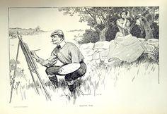 1906 Antique Charles Dana Gibson Print. Wasting by bananastrudel