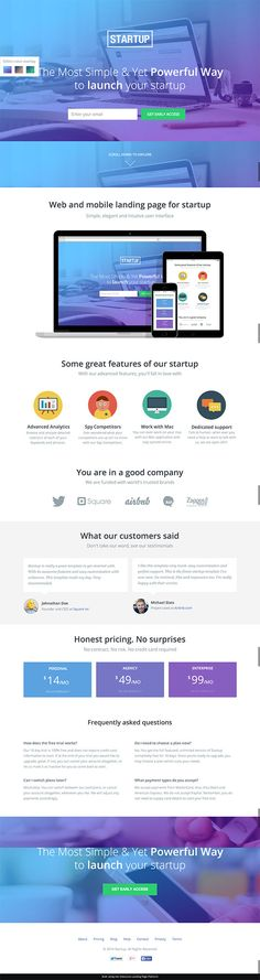 Startups Landing Page Lead Form - Unbounce Conversion Centered Design Template Contest Winner