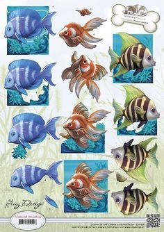 Amy Design Cut out sheet tropical fish - Animals Beach Crafts, Cute Crafts, Christmas Sheets, Image 3d, Decoupage Printables, 3d Sheets, Decoupage Tutorial, 3d Paper Crafts, Atc Cards
