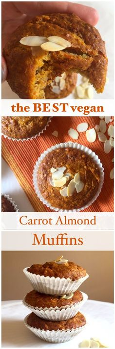These healthy and vegan carrot almond muffins are so delicious that I can't stop eating them. They are easy to bake too!