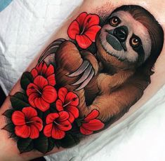 Discover ink inspiration worth hanging onto with the top 70 best sloth tattoo designs for men. Explore cool and mysterious mammal body art ideas. Magpie Tattoo, Hibiscus Flower Tattoos, Flower Wrist Tattoos, Hibiscus Flowers, Cute Tattoos, Body Art Tattoos, Tattoo Drawings, Tatoos, Sloth Tattoo