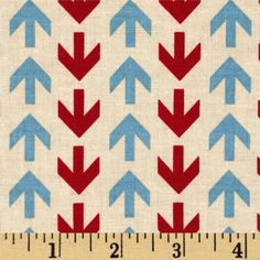 Riley Blake Detour Arrows Cream from @fabricdotcom  Designed by Bo Bunny for Riley Blake Designs, this cotton print fabric is perfect for crafts, quilting, apparel and home décor accents. Colors include red, light blue and cream.