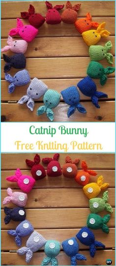 Amigurumi Catnip Bunny Free Knitting Pattern - TOPOP CUTE!  Make these for your Easter table as place settings!!