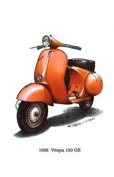 Orange 1958 Vespa 150 gs motorbike $3