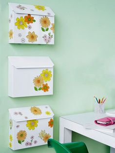 mount mail boxes on wall in office for storage (organize bills, menus, mail etc.)