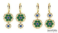 2 in 1 Dangle Flower Earrings Designed by Lucia Costin Garnished with Filigree Elements, Blue and Green Swarovski Crystals, Garnished with 4 Petal Flowers; 24K Yellow Gold Plated over .925 Sterling Silver Lucia Costin. $57.00. Adorned with deep blue and emerald - green Swarovski crystals. Unique jewelry handmade in USA. Dangle earrings beautifully designed by Lucia Costin. Flowers and fancy ornaments beautifully combined. Update your everyday style with inspiration wh...