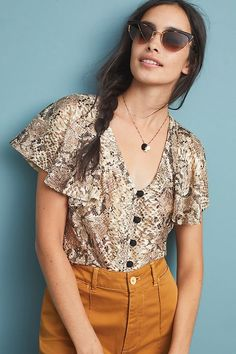 9bdebe104a24b Willow Snake-Printed Blouse | Anthropologie Anthropologie Uk, Spring Tops,  Summer Tops,
