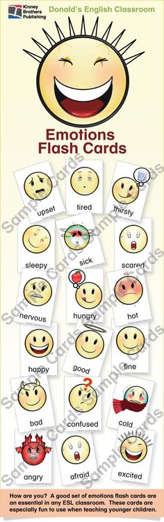 Emotions Flash Cards are emoticon-style flash cards that are really fun to use when teaching younger children.  Every ESL teachers knows that a good set of flash cards is worth its weight in gold!  You find these cards useful in a myriad of ways in class.  This zip file includes 18 cards.  Enjoy!  $2 on TpT  #ESL #ELL #EFL