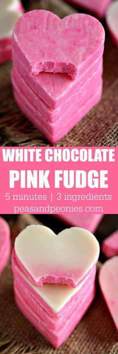 Pink White Chocolate Fudge is incredibly easy to make and very festive. 3 Ingredients, 5 minutes to get a creamy and irresistible fudge. Gluten free and No Bake.