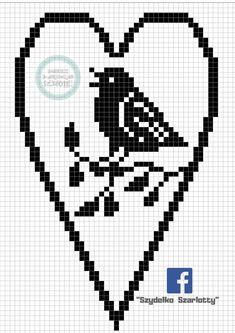Filet Crochet Charts, Crochet Doily Patterns, Crochet Squares, Crochet Doilies, Cross Stitch Heart, Cross Stitch Flowers, Cross Stitch Alphabet Patterns, Fillet Crochet, Crochet Birds