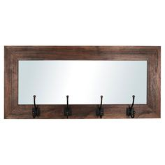 Entrance Mirror with 4 Hooks - Recycled Wood Mirror With Hooks, Mirror Shelves, Woodworking Plans, Popular Woodworking, Woodworking Projects, Recycled Wood, Mudroom, Wood Projects, Home Accessories