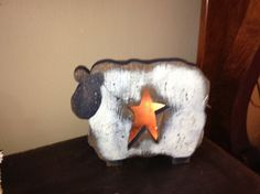 Primitive Wooden Sheep Lamp by PasthymeTreasures on Etsy, $29.95