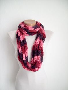 Finger Knitting Scarf Pink Purple Burgundy  Multicolor  by nurlu, $14.00