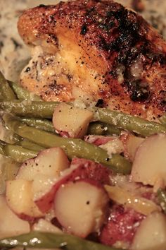 Pan Roasted Chicken and Lemon-Garlic Green Beans