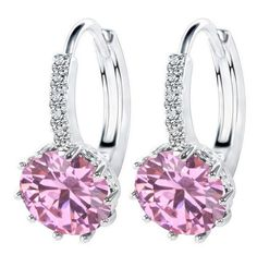Sterling silver cubic zirconia Amethyst Lady Stud Hoop Earrings Gift Box K37