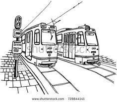 Hand drawn Tram illustration