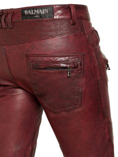 Balmain Fall Winter 2013 Biker Jeans and Trousers Size Guide – Second Kulture Leather Trousers Outfit, Mens Leather Shirt, Brown Leather Pants, Leather Shorts, Men's Leather, Leather Jackets, Mens Fashion Wear, Leather Fashion, Men's Fashion