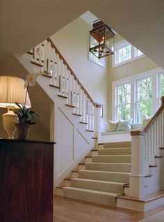 Love the wide stairs & bay window - designed by Vaughan & Sautter Builders