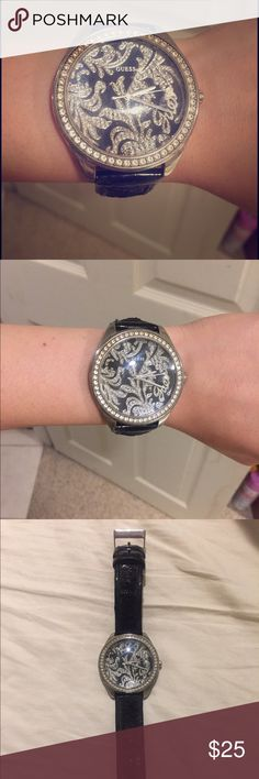 Selling this 🎉 Black & Diamond GUESS Watch ⌚️ on Poshmark! My username is: chelseatriola. #shopmycloset #poshmark #fashion #shopping #style #forsale #Guess #Accessories