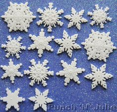 FRESH SNOW - White Snowflakes Snowing Winter Christmas Dress It Up Craft Buttons